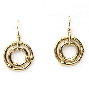 Monet Vintage Jewelry Gold Tome Dangle Earrings